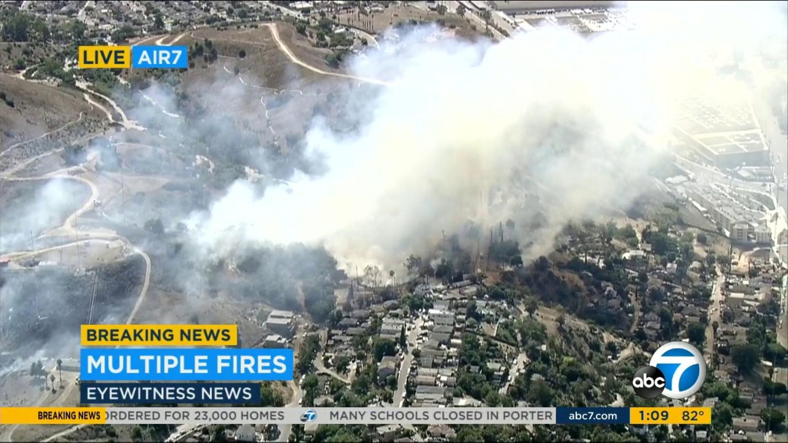1-acre fire burning in LA's El Sereno neighborhood