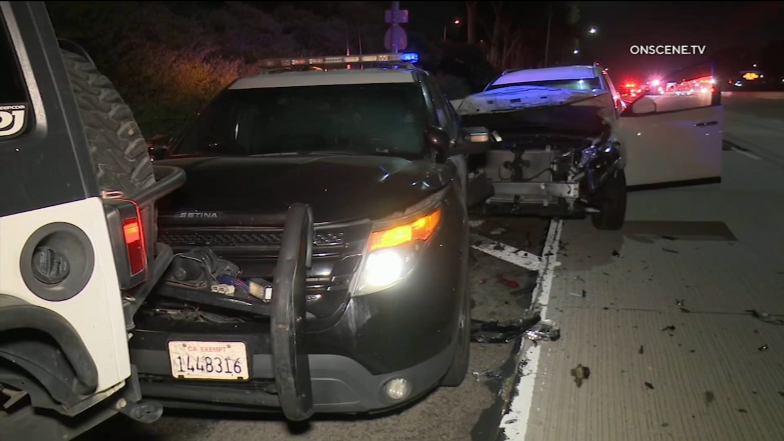 CHP cruiser hit after series of crashes including wrong-way incident along 55 Fwy in Costa Mesa