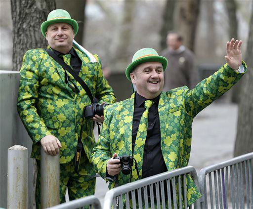 <div class='meta'><div class='origin-logo' data-origin='none'></div><span class='caption-text' data-credit='AP Photo/ Seth Wenig'>Neil Martin, right, and Martin Brown, both from Belfast, Ireland, watch the St. Patrick's Day Parade in New York, Tuesday, March 17, 2015. (AP Photo/Seth Wenig)</span></div>