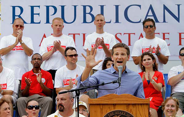 """<div class=""""meta image-caption""""><div class=""""origin-logo origin-image none""""><span>none</span></div><span class=""""caption-text"""">U.S. Rep. Aaron Schock, R-Ill., participates in a rally during Republican Day Thursday Aug 18, 2011 at the Illinois State Fairgrounds in Springfield, Ill. (AP Photo/ Seth Perlman)</span></div>"""