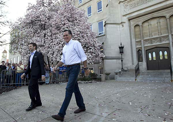 """<div class=""""meta image-caption""""><div class=""""origin-logo origin-image none""""><span>none</span></div><span class=""""caption-text"""">Mitt Romney, right, and Rep. Aaron Schock, R-Ill., left, arrive at a Romney campaign rally at Bradley University, in Peoria, Ill., Monday, March 19, 2012. (AP Photo/ Steven Senne)</span></div>"""