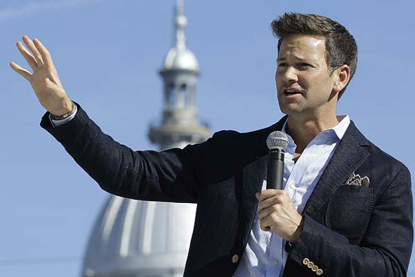 """<div class=""""meta image-caption""""><div class=""""origin-logo origin-image none""""><span>none</span></div><span class=""""caption-text"""">U.S. Rep. Aaron Schock, R-Ill., speaks during a campaign rally outside the State Capitol in Springfield, Ill., Monday, Nov. 3, 2014. (AP Photo/ Seth Perlman)</span></div>"""