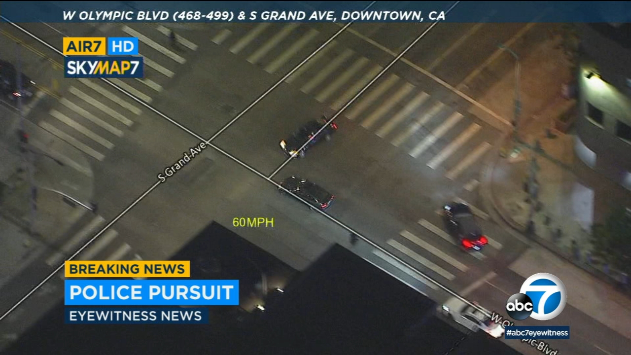High-speed chase on surface streets ends in violent crash in downtown LA