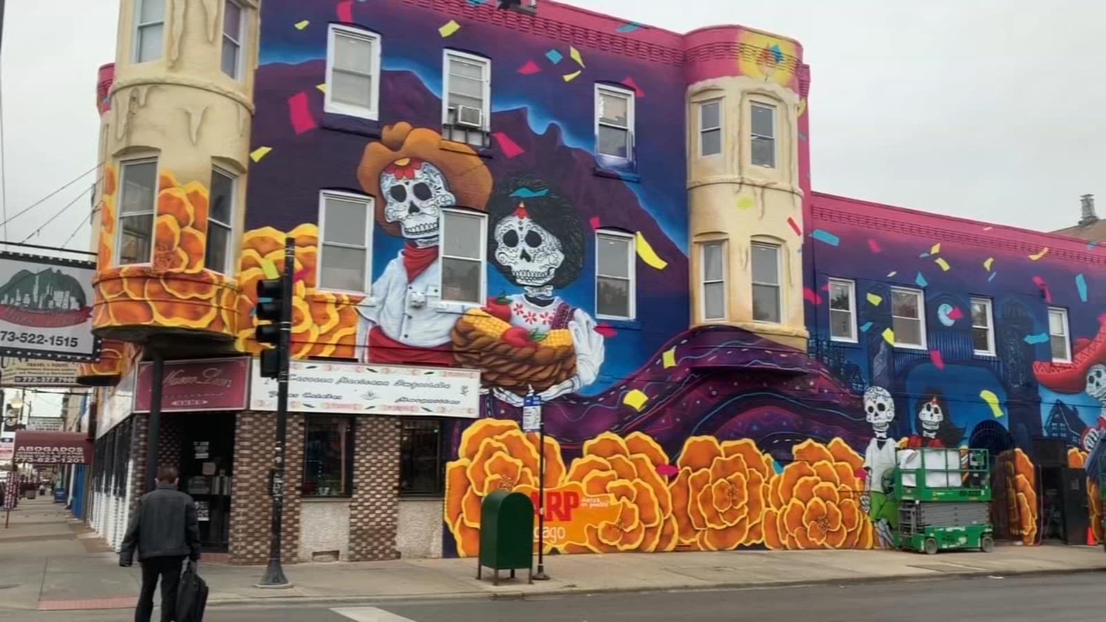 Huge Day of Dead mural wraps around Little Village restaurant
