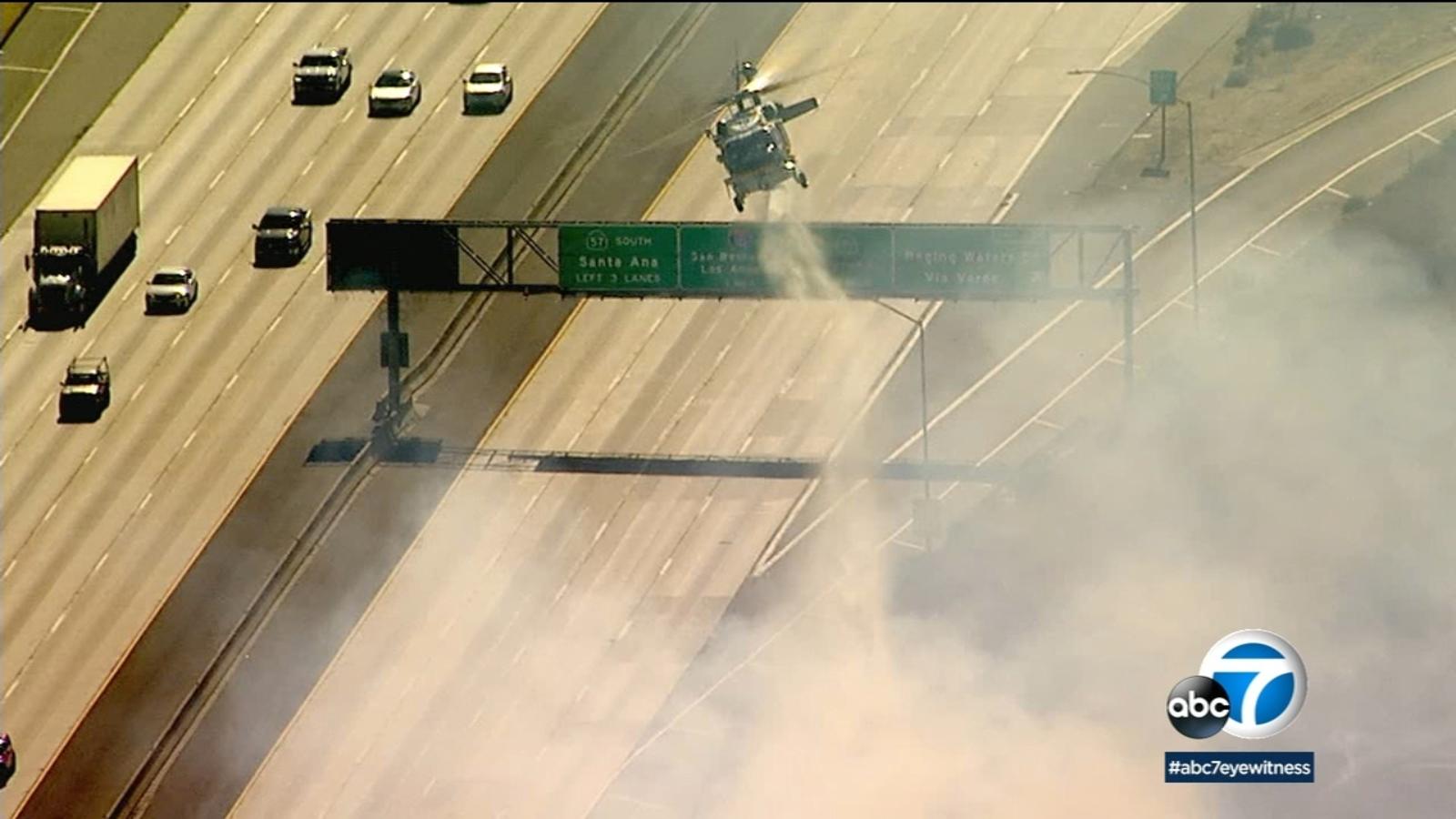 San Dimas fire: Several southbound 57 Freeway lanes closed following 3-acre blaze