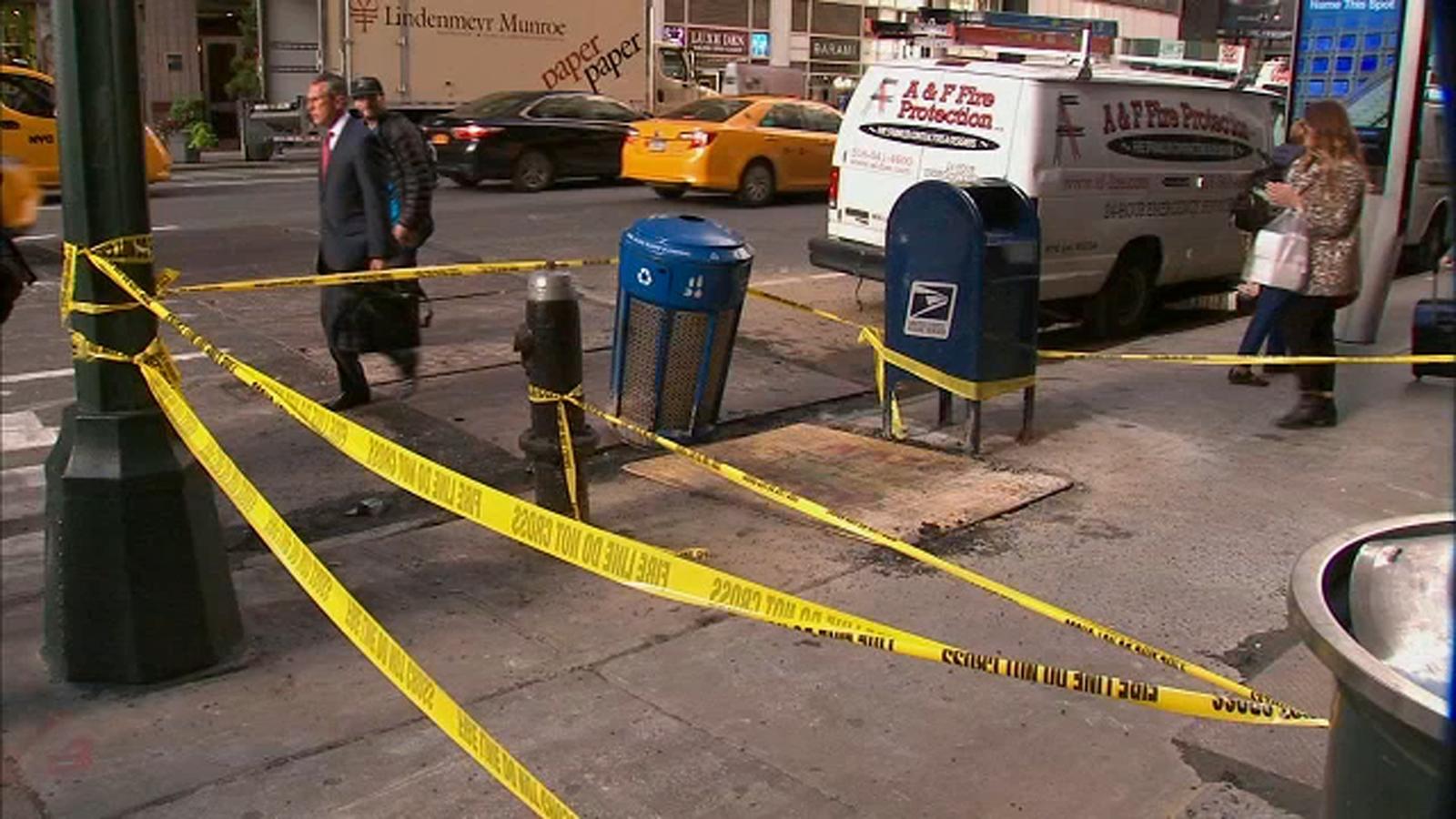 Woman hospitalized after falling through sidewalk hole in Midtown Manhattan