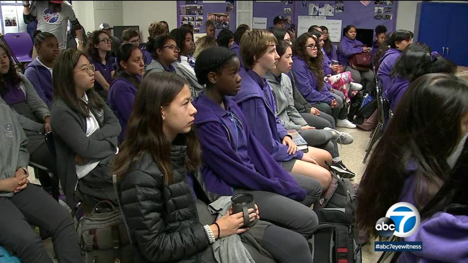 Students at Mid Wilshire girls school watch inspiring all-female spacewalk