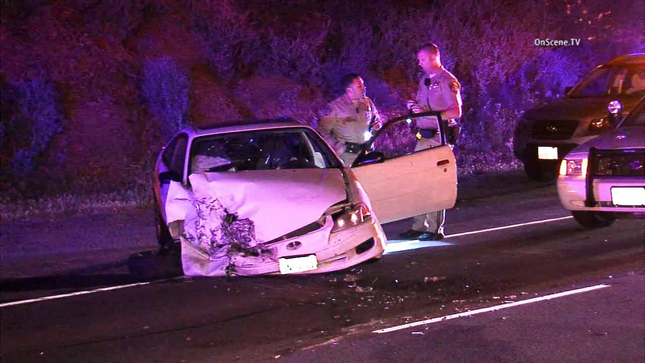 A wrecked car is shown at the scene of a car crash in Malibu on Tuesday, March 17, 2015.