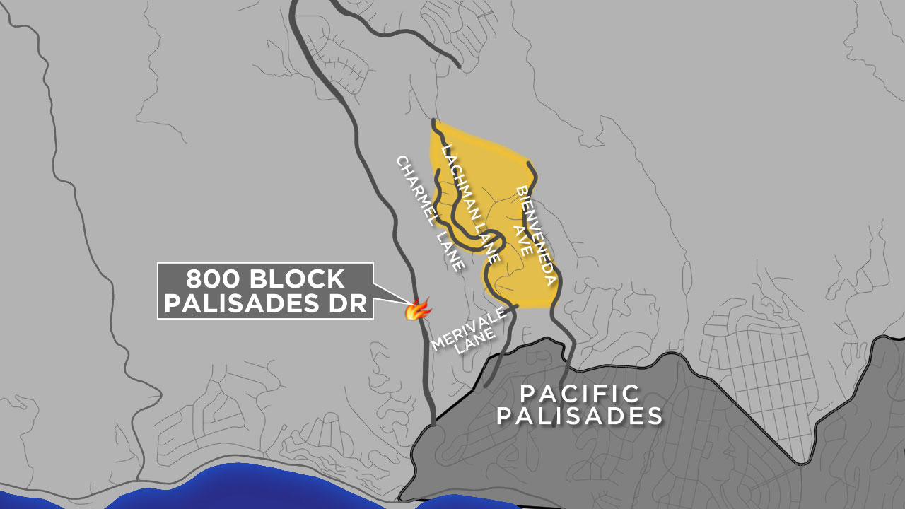 Evacuations were ordered in neighborhoods of Pacific Palisades as a brush fire approached dangerously close to homes.