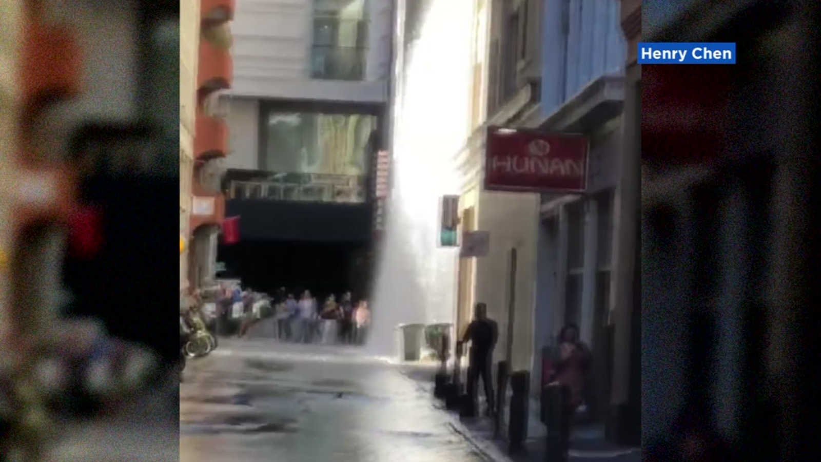 San Francisco fire hydrant bursts, shooting water four stories high
