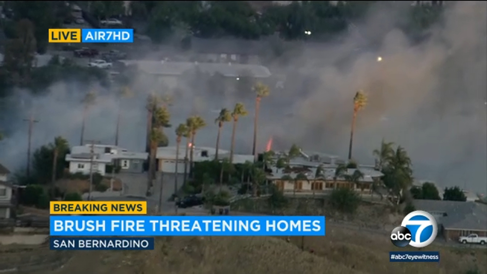 Fire erupts in Little Mountain area of San Bernardino; structures burning - LIVE