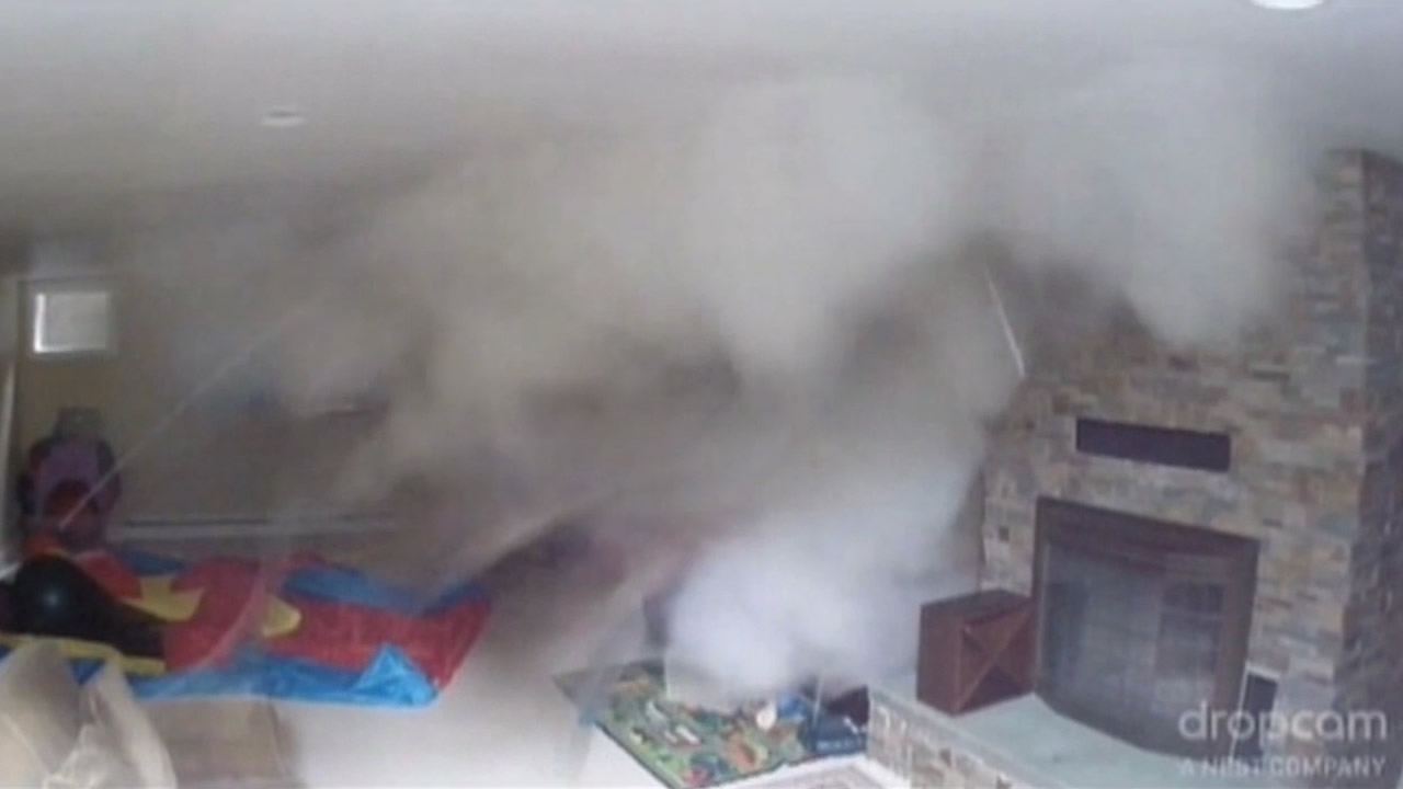 Video captured on family's nanny camera shows the boiler blowing in the basement of their home in Bellingham, Wash.