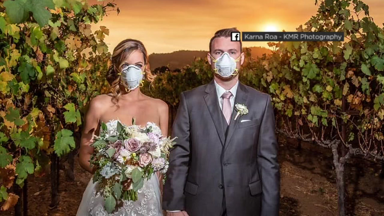 Smoky Kincade Fire wedding photo at Sonoma County vineyard