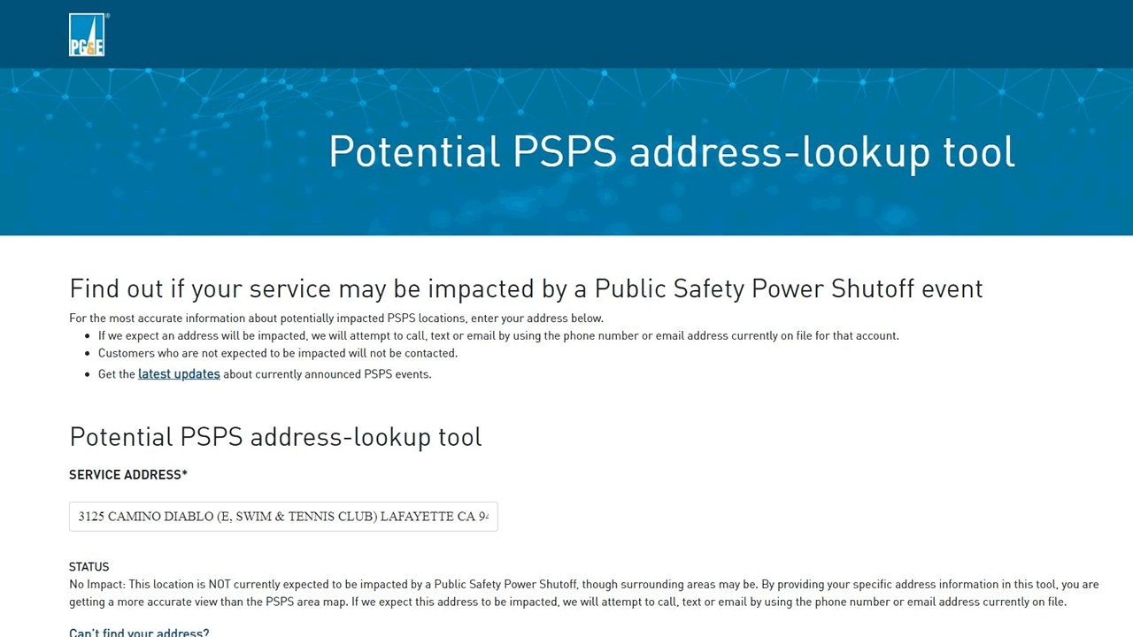 A screengrab from PG&E's website showing the impact to an address