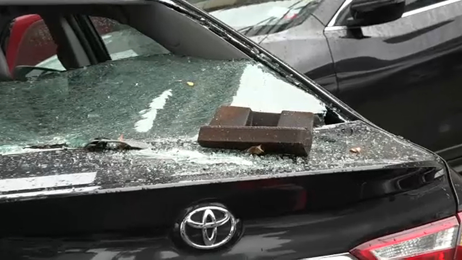 Falling debris smashes into windshield of livery cab driver in Queens
