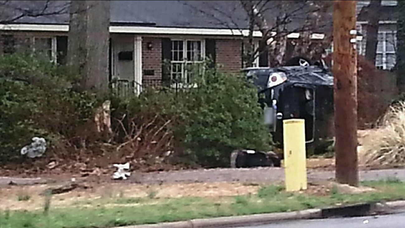 End of police chase in Wilson -- wrecked car
