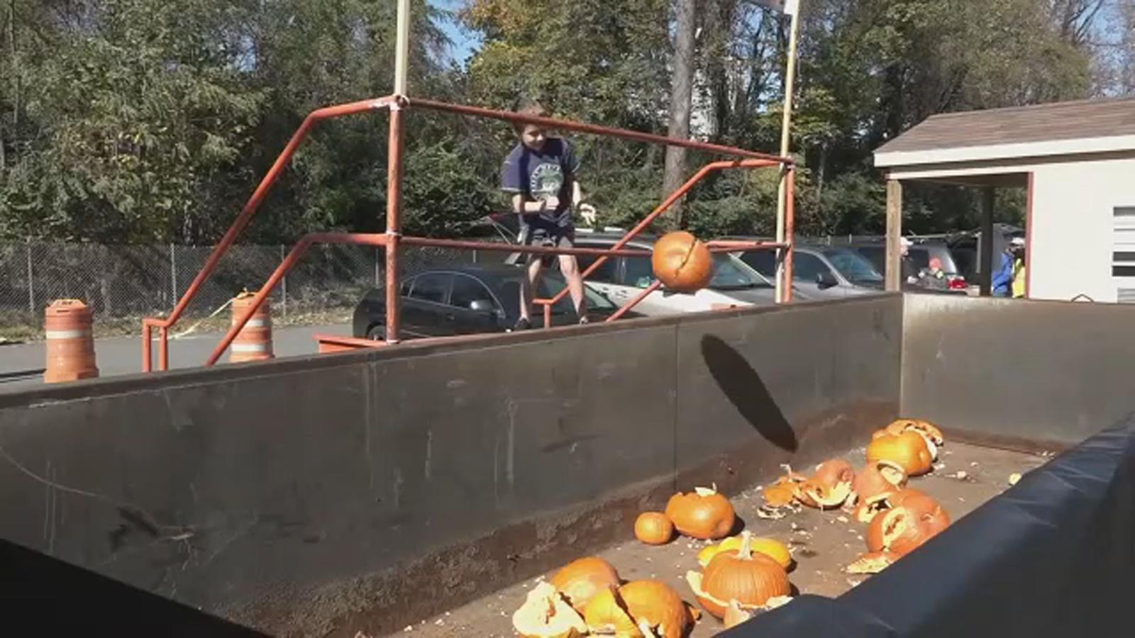 New York City park hosts pumpkin smashing festival