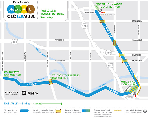 CicLAvia: The Valley takes place Sunday, March 22, along Lankershim Boulevard in North Hollywood to Ventura Boulevard in Studio City.