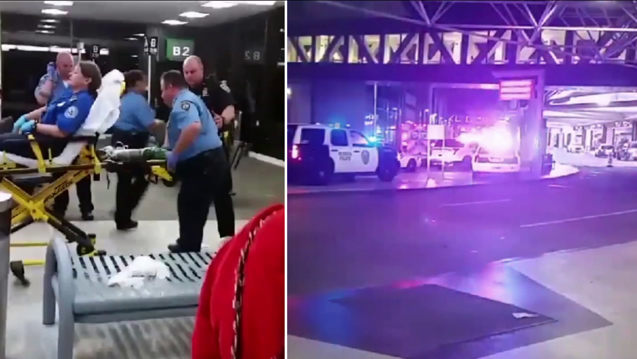 The aftermath of a shooting at New Orleans International Airport is shown on Friday, March 20, 2015.