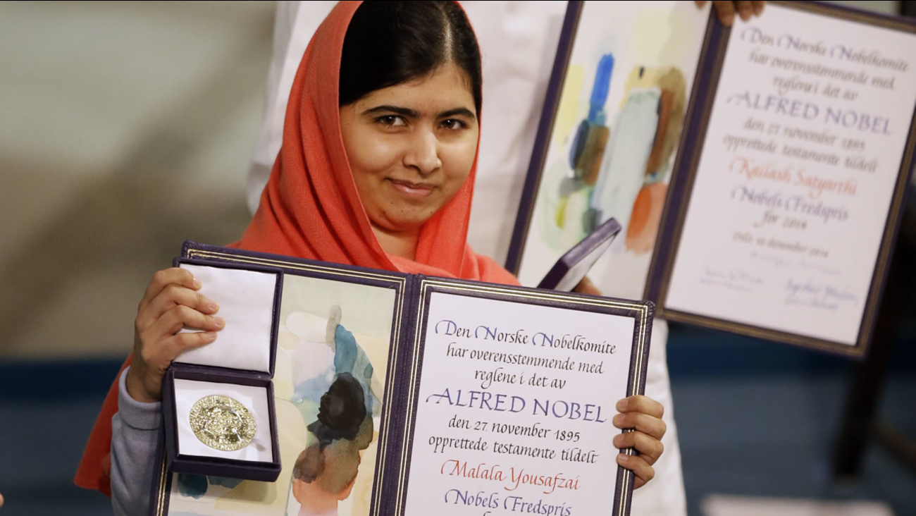 Nobel Peace Prize winner Malala Yousafzai from Pakistan is awarded the Nobel Peace Prize during the Nobel Peace Prize award ceremony in Norway on Dec. 10, 2014. (AP  Photo)