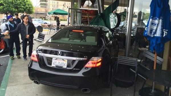 Car crashes into Cupertino Starbucks