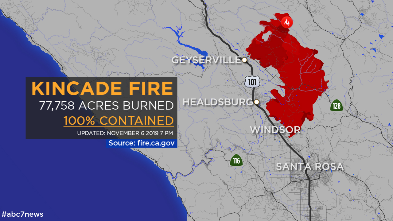 sonoma county wildfire map Kincade Fire In Sonoma County 100 Percent Contained Abc7 San