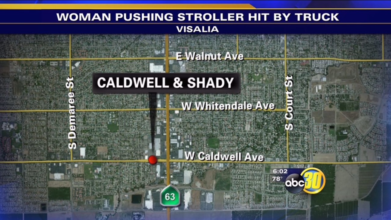 Woman hit by pickup truck while pushing a 1-month-old baby in a stroller