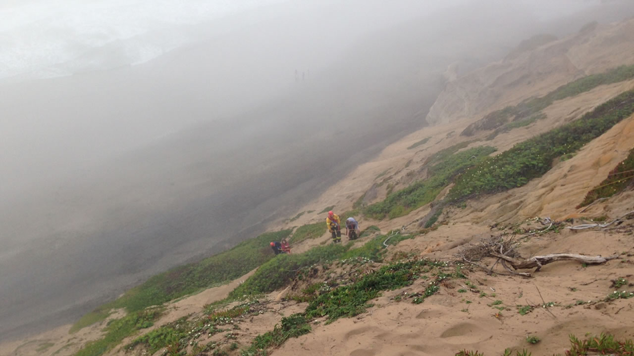 Two adults and a dog were rescued from a cliff at Fort Funston Saturday.