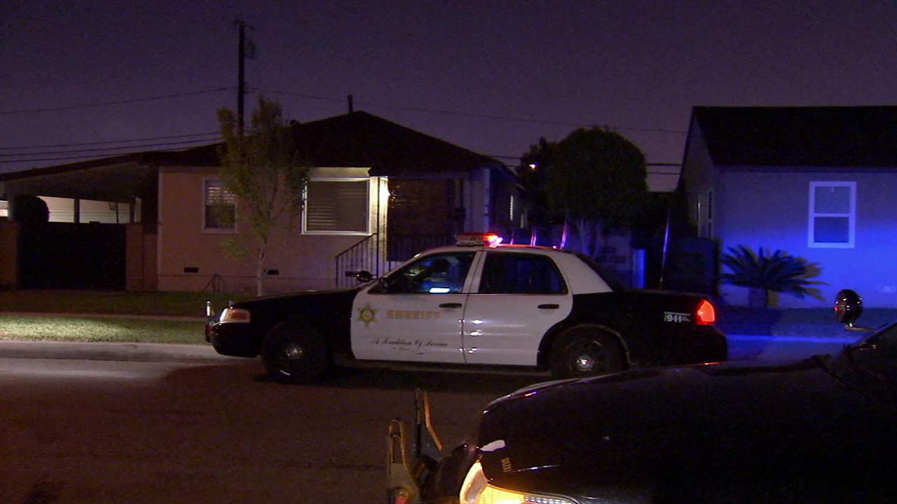 Police investigate the scene of an hourslong barricade in the 8500 block of Terradell Street in Pico Rivera on Saturday, March 21, 2015.