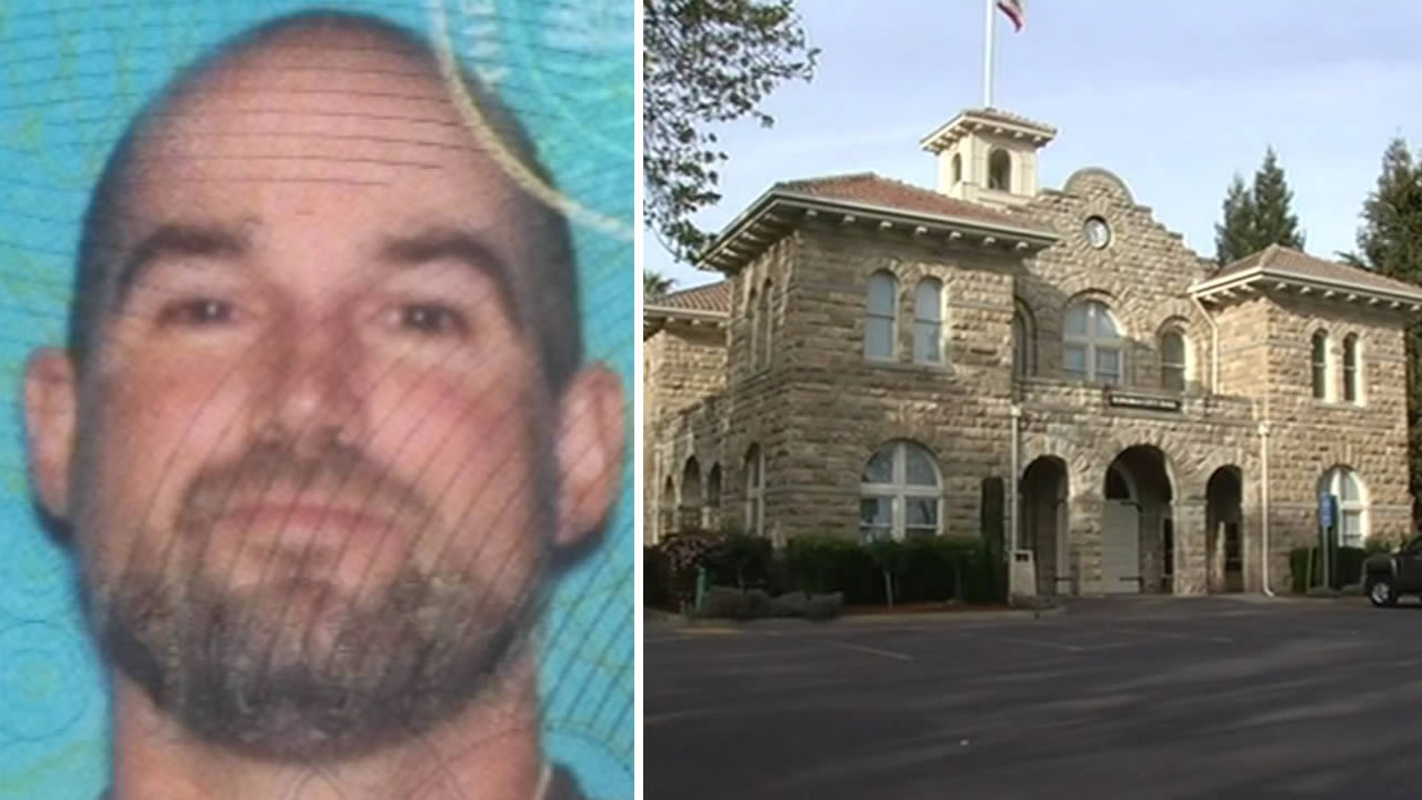 Christopher McNatt, 40, is accused of killing a man, stuffing his body in a plastic barrel, and leaving it on the steps of Sonoma City Hall in Sonoma, Calif. on March 20, 2015.