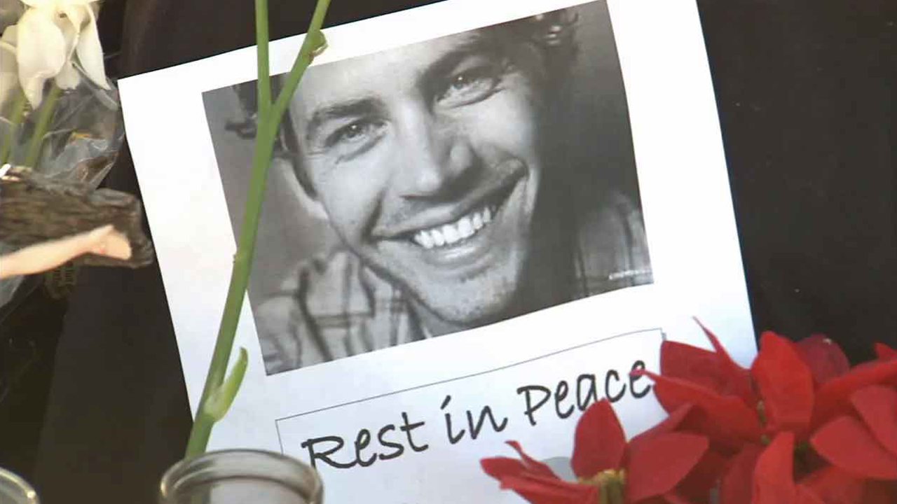 A tribute to Paul Walker is seen in this Dec. 2013 photo. Walker and his friend, Roger Rodas, were killed in a fiery car crash in Valencia Saturday Nov. 30, 2013.
