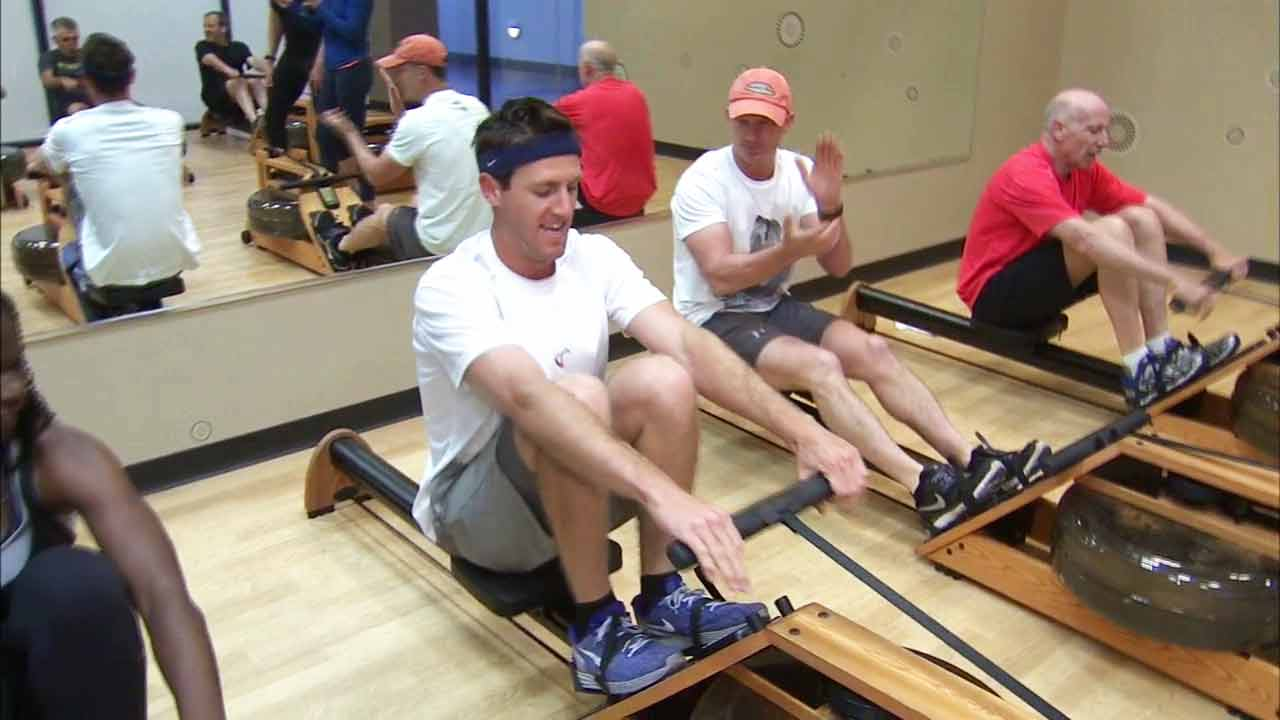 Indo-Row class participants workout on Monday, March 23, 2015.