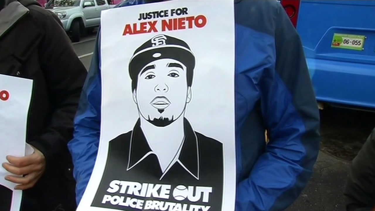 "<div class=""meta image-caption""><div class=""origin-logo origin-image kgo""><span>KGO</span></div><span class=""caption-text"">Demonstrators hold posters of Alex Nieto on Monday, March 23, 2015.(KGO-TV)</span></div>"