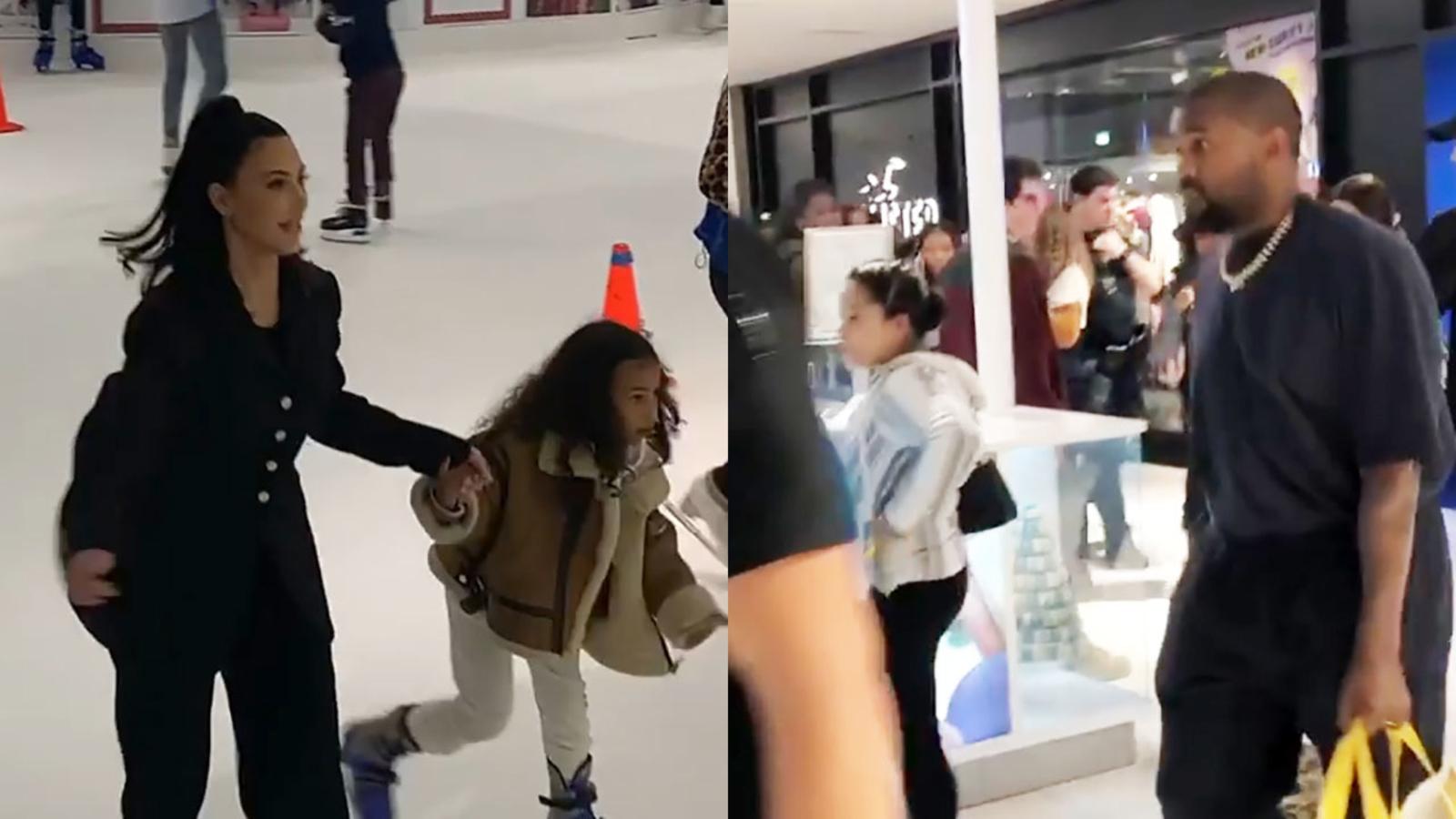 Kanye West shops and Kim Kardashian skates at the Galleria - KTRK-TV