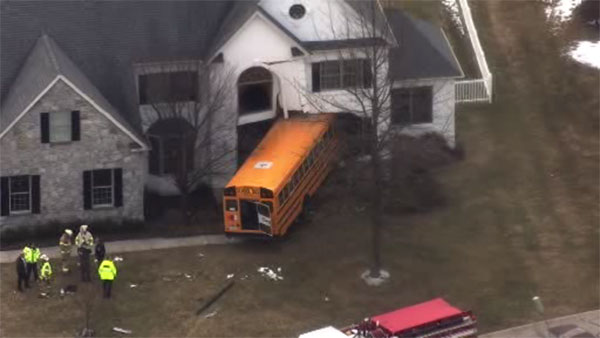 School bus crashes into house in Blue Bell, Pa.