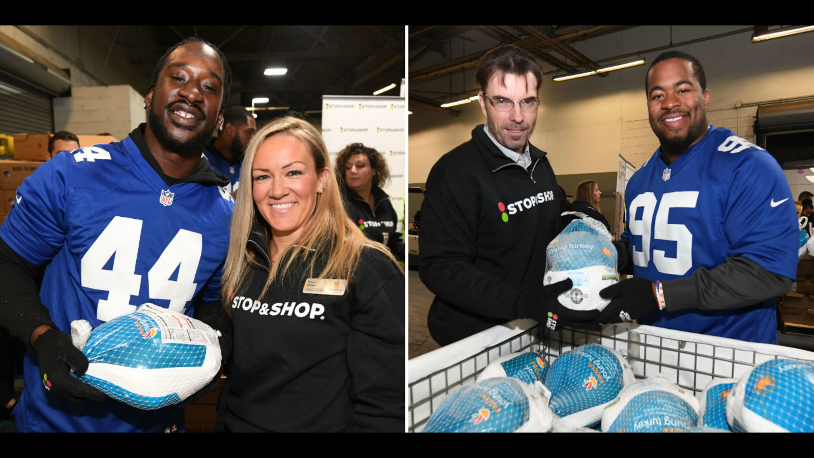 Ny Giants Players Unload Truck Of 1 500 Donated Turkeys For
