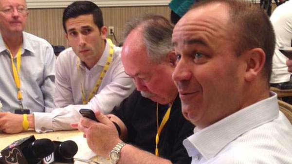 """<div class=""""meta image-caption""""><div class=""""origin-logo origin-image none""""><span>none</span></div><span class=""""caption-text"""">David Nuno and other reporters eating breakfast with Texans head coach Bill O'Brien (KTRK Photo)</span></div>"""
