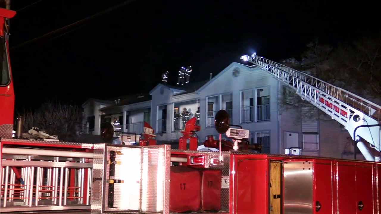 Firefighters battle an apartment fire in the 1000 block of Stanley Avenue in Long Beach on Thursday, March 26, 2015.