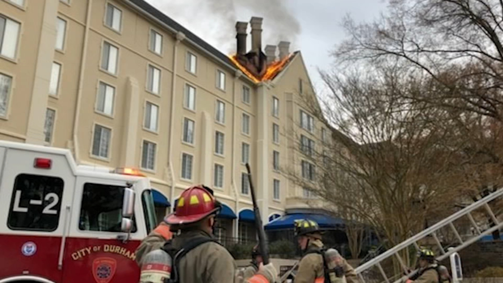 Fire causes heavy damage to roof at Washington Duke Inn