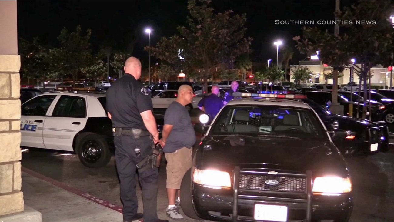 Two suspects were taken into custody in Buena Park following a police chase on Wednesday, March 25, 2015.