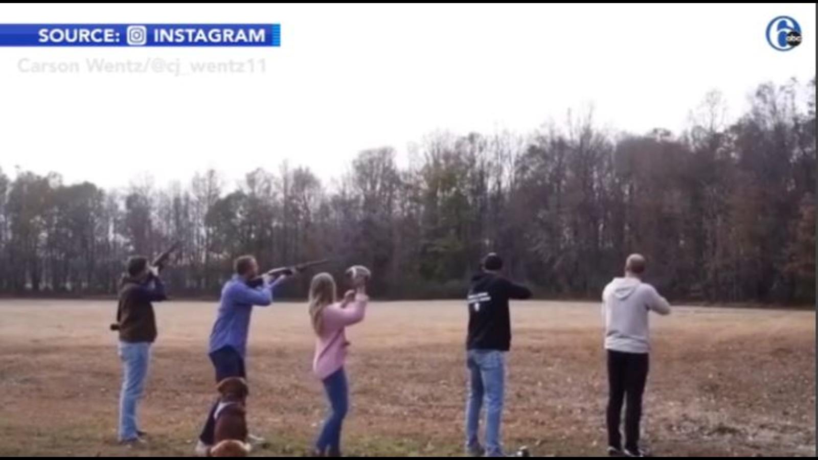 Eagles Quarterback Carson Wentz Shoots At Footballs In Baby Gender Reveal Video 6abc Philadelphia
