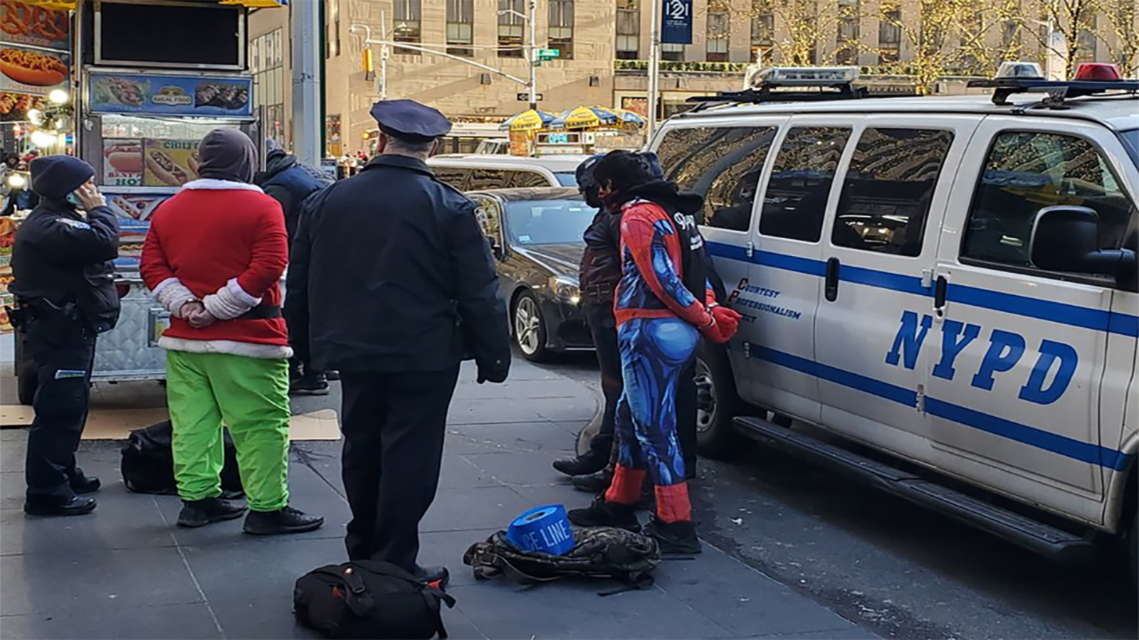 3 costumed characters taken into custody near Rockefeller Center