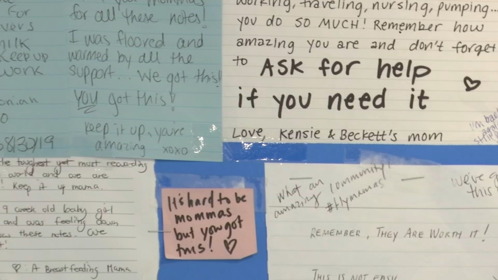 Moms help moms with encouraging notes in Philadelphia airport nursing pod