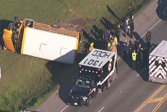 """<div class=""""meta image-caption""""><div class=""""origin-logo origin-image none""""><span>none</span></div><span class=""""caption-text"""">Authorities say a school bus crashed in northwest Harris County after a car ran a red light and struck one of the buses, sending it into a ditch (KTRK Photo/ KTRK)</span></div>"""