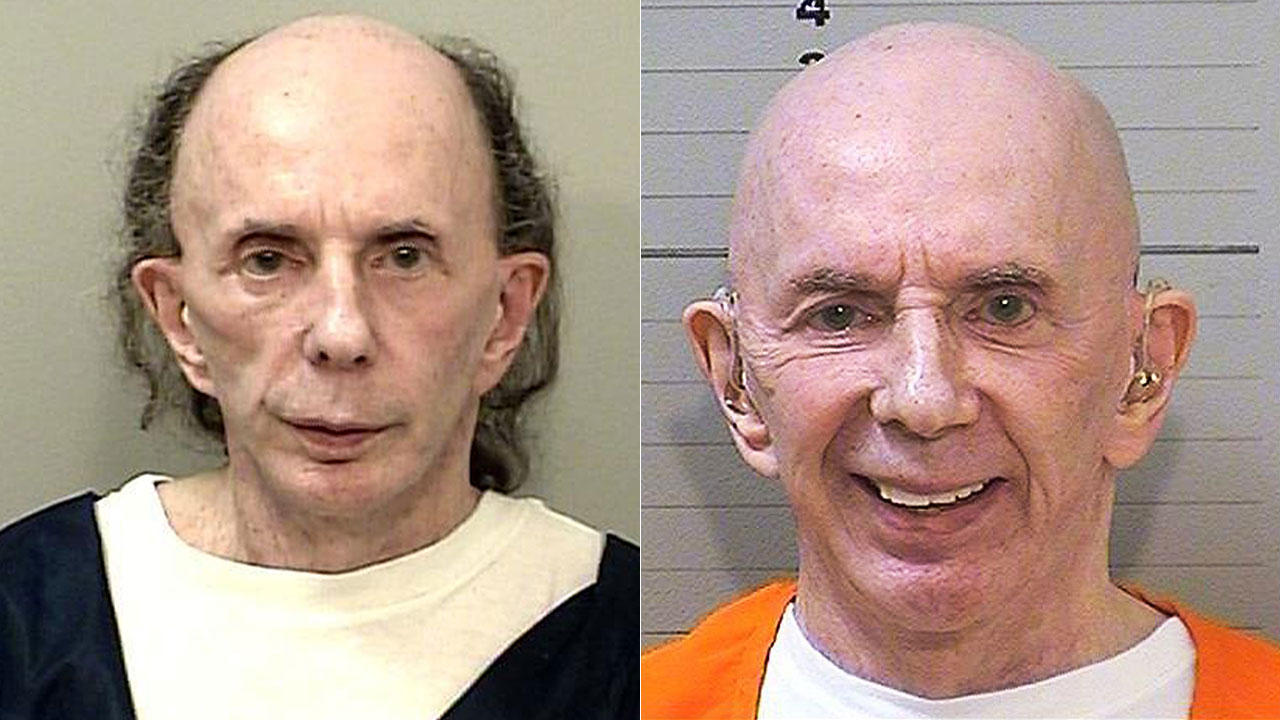 Phil Spector is show in prison mugshots from 2013 (left) and 2017 (right).