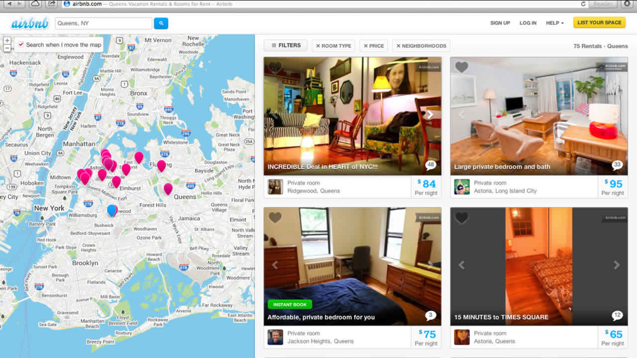 This Oct. 14, 2013 screen shot provided by Airbnb from their website shows a typical search for listings of rooms to rent, in this case in Queens, New York, through Airbnb. (AP)