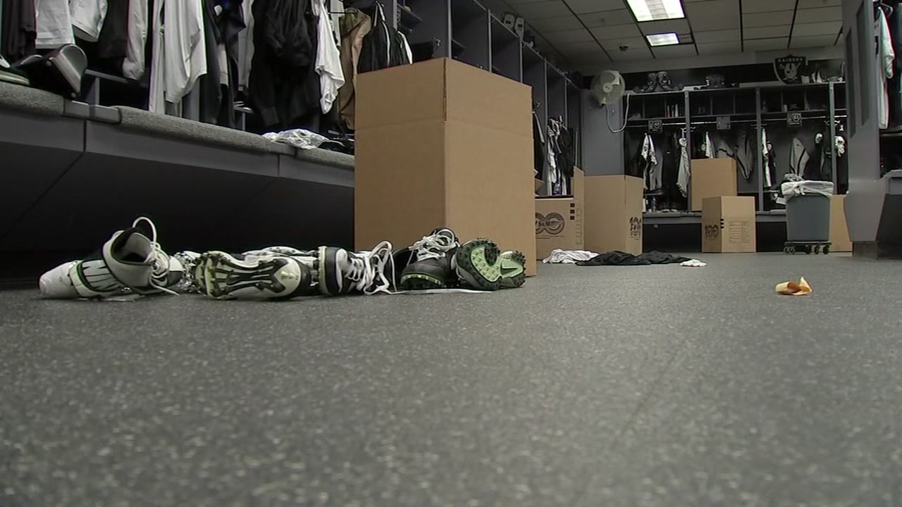 This Monday, Dec. 30, 2019 image shows the Raiders locker room in Alameda, Calif. as the team clears out before moving to Las Vegas.