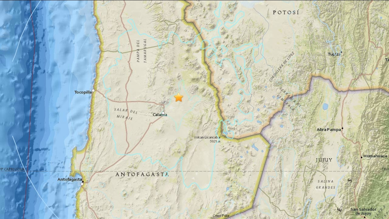 This map show the location of a 6.0 magnitude earthquake that hit Chile on Saturday, March 28, 2015.