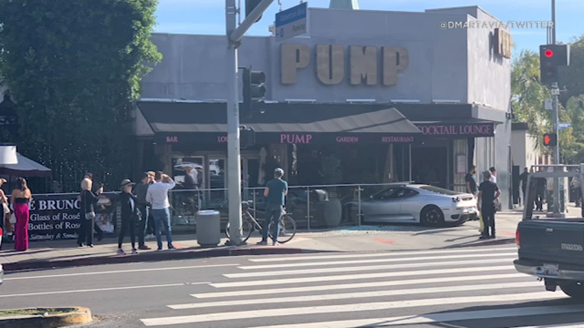 A Ferrari crashed into reality star Lisa Vanderpump's restaurant Pump in West Hollywood.