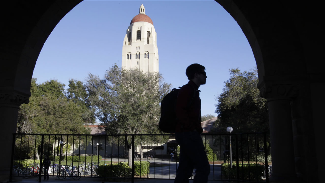 A Stanford University student walks in front of Hoover Tower on the Stanford University campus in Palo Alto, Calif., Wednesday, Feb. 15, 2012. (AP Photo/Paul Sakuma)